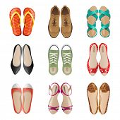 stock photo of woman boots  - Set of 9 woman shoes icons - JPG