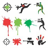 image of paintball  - Set of paintball icons and design elements - JPG