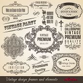 Calligraphic Element Border Corner Frame and Invitation Collection. Decoration Typographic Elements, Vintage Labels, Ribbons. Design vector illustration