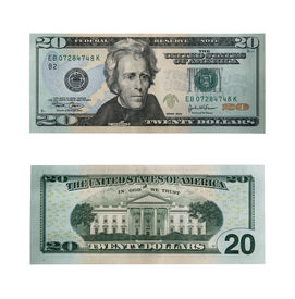 picture of one hundred dollar bill  - both sides of the twenty dollar bill isolated on white with clipping path  - JPG