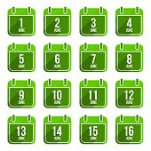 June vector flat calendar icons. Days Of Year Set 17
