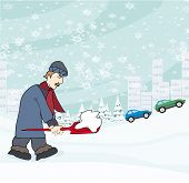 picture of snow shovel  - Man shoveling snow from street in winter  - JPG