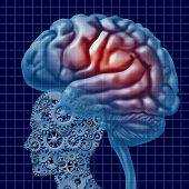 stock photo of neurology  - Brain intelligence technology as a mental health concept with a human head made of connected gears and cogs with active neuron function as a cerebral icon of neurological cognitive diagnosis - JPG