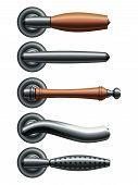 Set Of Five Types Of Realistic Metal Door Handles. Eps10