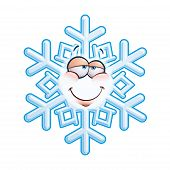 picture of feeling stupid  - Cartoon illustration of a snowflake emoticon with a stupid facial expression - JPG