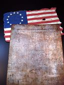 stock photo of betsy ross  - The Declaration of Independence and the Betsy Ross Flag - JPG