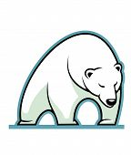 Stylized illustration of a sleepy white polar bear