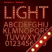 stock photo of broadway  - Set of Red Classic Light Bulb Alphabet And Digit Vector - JPG