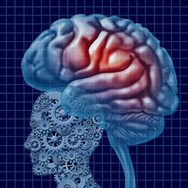 picture of cognitive  - Brain intelligence technology as a mental health concept with a human head made of connected gears and cogs with active neuron function as a cerebral icon of neurological cognitive diagnosis - JPG