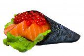 Caviar Sushi Nori With Tuna And Salmon Isolated On White Background