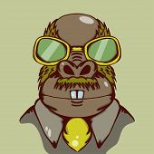 Weird walrus illustration with yellow glasses and yellow tie