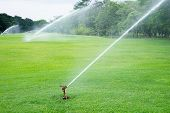 stock photo of flux  - Watering in golf course turf nature outdoor outside - JPG