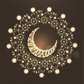 Crescent moon on shiny floral decorated brown background for holy month of Muslim community Ramadan Mubarak.