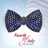 Stylish bow on American National Flag waving background for 4th of July, Independence Day celebrations.