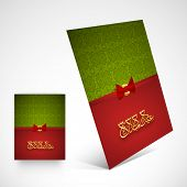 Beautiful greeting card design with arabic islamic calligraphy of golden text Eid Mubarak in green and red colour.