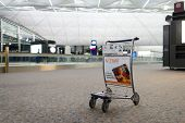 HONG KONG - APRIL 22: baggage trolley in airport on April 22, 2014 in Hong Kong. Hong Kong International Airport  is one of the best airport in the annual passenger survey by Skytrax.