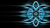 Symmetrical Blue Fractal Flower, Circle Digital Artwork