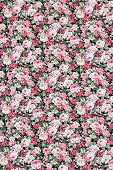 Red rose fabric background, Fragment of colorful retro tapestry textile pattern with floral ornament