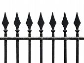 Old Cast Iron Fence With Spears Isolated On White. Seamless Fragment