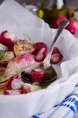 picture of vedic  - cooked roasted radishes lying in the form of heat-resistant ** Note: Shallow depth of field - JPG