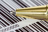 Pen On Barcode Background