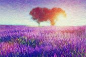 Original oil painting of lavender fields on cardboard. Sunset landscape.Modern Impressionism