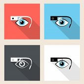 foto of nano  - Google glasses square icon set in flat design - JPG