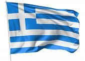 Flag Of Greece On Flagpole
