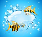 Bubbles cloud in aquarium with gold fishes. Eps10 vector illustration