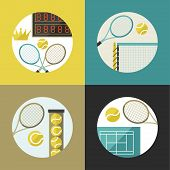 Sports backgrounds with tennis icons in flat design style.