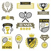 Tennis banners, ribbons and badges with icons.