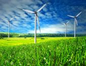 foto of wind-farm  - Wind Mill landscape wind turbines blue sky - JPG