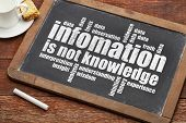 information is not knowledge  - a quote from Albert EInstein and a related word cloud   on a vintage