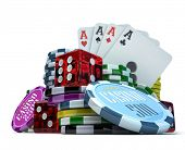 3D rendering  composition with different gambling elements