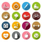 Collection of icons representing healthy lifestyle, sports and fitness activities in flat design style.