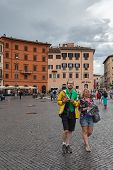 Tourists In Piazza Navona