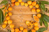 picture of loquat  - Still life with freshly picked loquats and homemade marmalade - JPG
