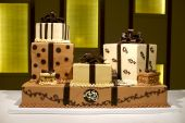 Unique Multi-layered Brown And White Wedding Cake