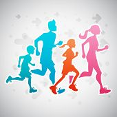 pic of triathlon  - Vector illustration of a family running exercise - JPG