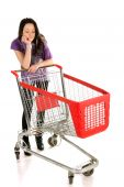 Unhappy Girl With Shopping Cart