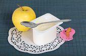 Kids yogurt and apple
