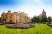 Juliusz Slowacki Theatre in sunny day, Krakow