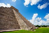 Close view of Chichen Itza monument in Mexico