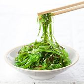 Bowl Of Seaweed Salad Sprinkled With Sesame Seeds