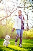 pic of west highland white terrier  - a woman with west highland white terrier - JPG