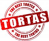 stock photo of torta  - Vector illustration of best tortas red stamp concept - JPG