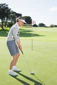 pic of ladies golf  - Lady golfer on the putting green at the eighteenth hole on a sunny day at the golf course - JPG