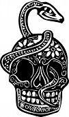 pic of serpent  - Woodcut style image of a day of the dead Skull wrapped in a serpent - JPG