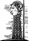 picture of time-bomb  - Woodcut image of a tower where a giant head with a time bomb in its brain is being constructed - JPG
