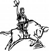 pic of bull-riding  - Western rodeo image of an American Cowboy riding a bull woodcut style - JPG